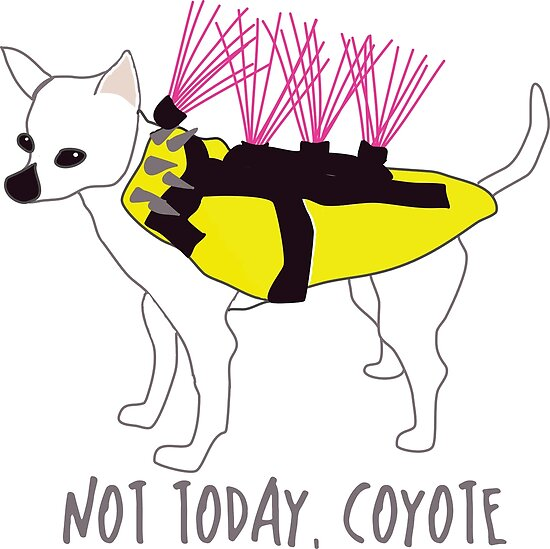 Not Today, Coyote - Tough Little Chihuahua in a Spiked Jacket by awkwarddesignco