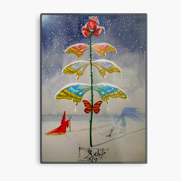 BUTTERFLY WINTER : Vintage Tree with Snow Abstract Dali Surreal Print Metal Print