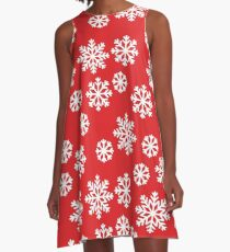 Christmas / Winter Big White Snowflakes Pattern Red A-Line Dress