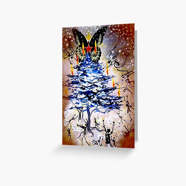 BUTTERFLY CHRISTMAS : Vintage 1974 Abstract Surreal Dali Tree Greeting Card