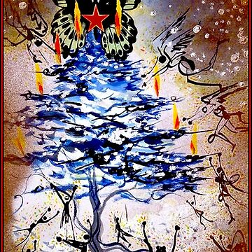 BUTTERFLY CHRISTMAS : Vintage 1974 Abstract Surreal Dali Tree by posterbobs