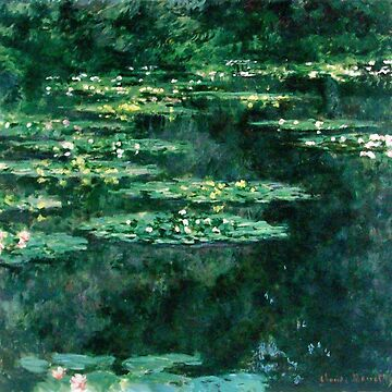 WATER LILIES IN GREEN POND Claude Monet by BulganLumini