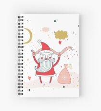 Merry Christmas Happy New Year Santa Claus with presents gifts Fun greeting card Unique Cute hand drawn design elements on white background Spiral Notebook
