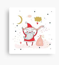 Merry Christmas Happy New Year Santa Claus with presents gifts Fun greeting card Unique Cute hand drawn design elements on white background Canvas Print