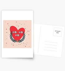 Christmas wreath and Red heart and Ho - Ho - Ho phrase greeting card design on pink background Unique cute hand drawn elements Postcards