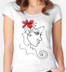 Blumenmädchen - Line Art Tailliertes Rundhals-Shirt