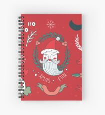 Christmas New Year Celebration Hand drawn design elements set with Santa Claus Snowflakes Cute plants Snowflakes Red Green Colorful Spiral Notebook