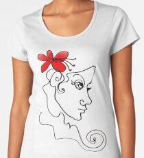 Blumenmädchen - Line Art Frauen Premium T-Shirts