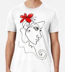Blumenmädchen - Line Art Männer Premium T-Shirts