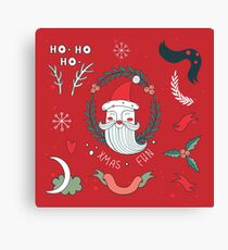 Christmas New Year Celebration Hand drawn design elements set with Santa Claus Snowflakes Cute plants Snowflakes Red Green Colorful Canvas Print