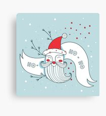 Merry Christmas Happy New Year Santa Claus greeting card Banner Green background Holiday wreath design elements Ho - Ho - Ho Canvas Print