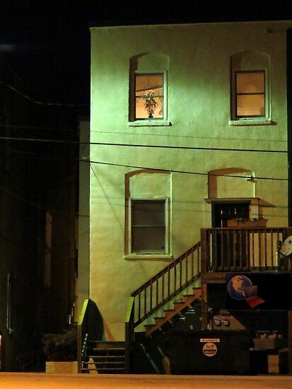 Night Alley And Building by Jean Gregory  Evans