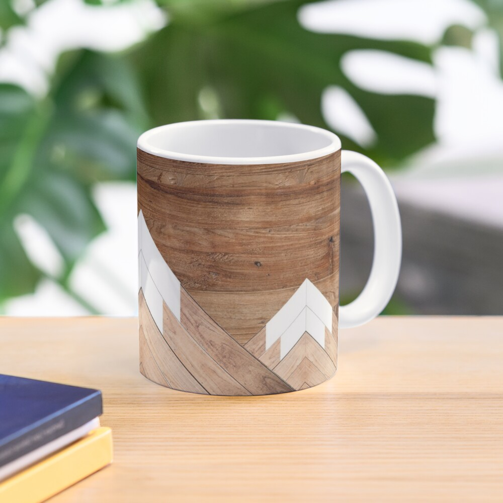 Wooden snow-capped mountains Mug
