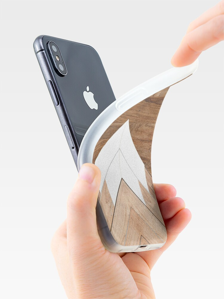 Alternate view of Wooden snow-capped mountains iPhone Case & Cover