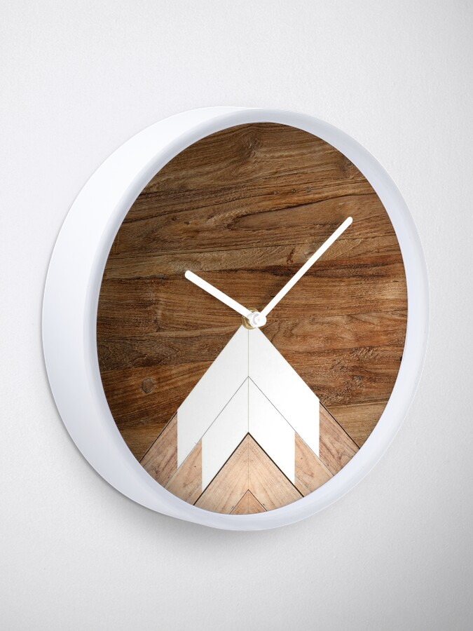 Alternate view of Wooden snow-capped mountains Clock