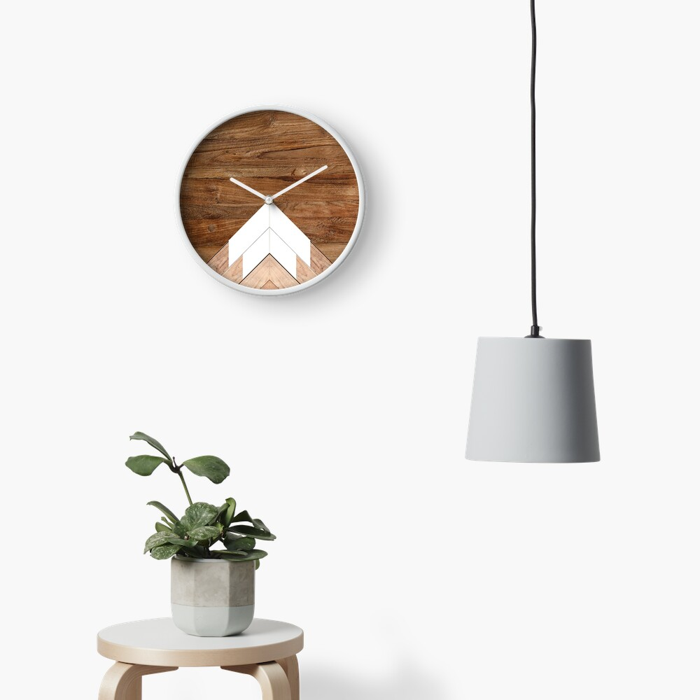 Wooden snow-capped mountains Clock