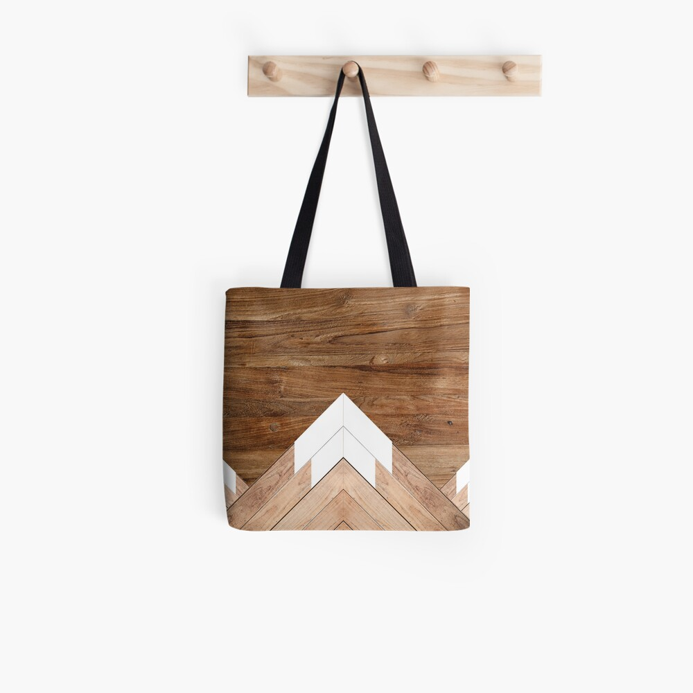Wooden snow-capped mountains Tote Bag