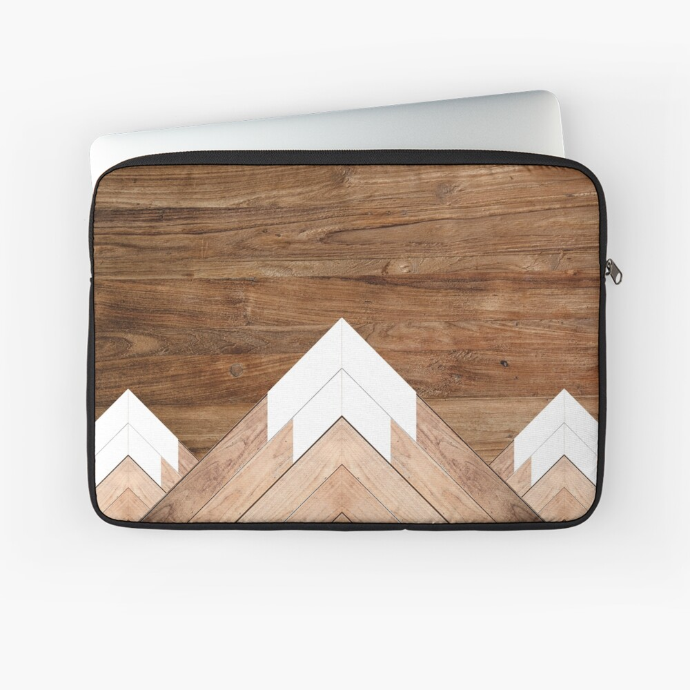 Wooden snow-capped mountains Laptop Sleeve