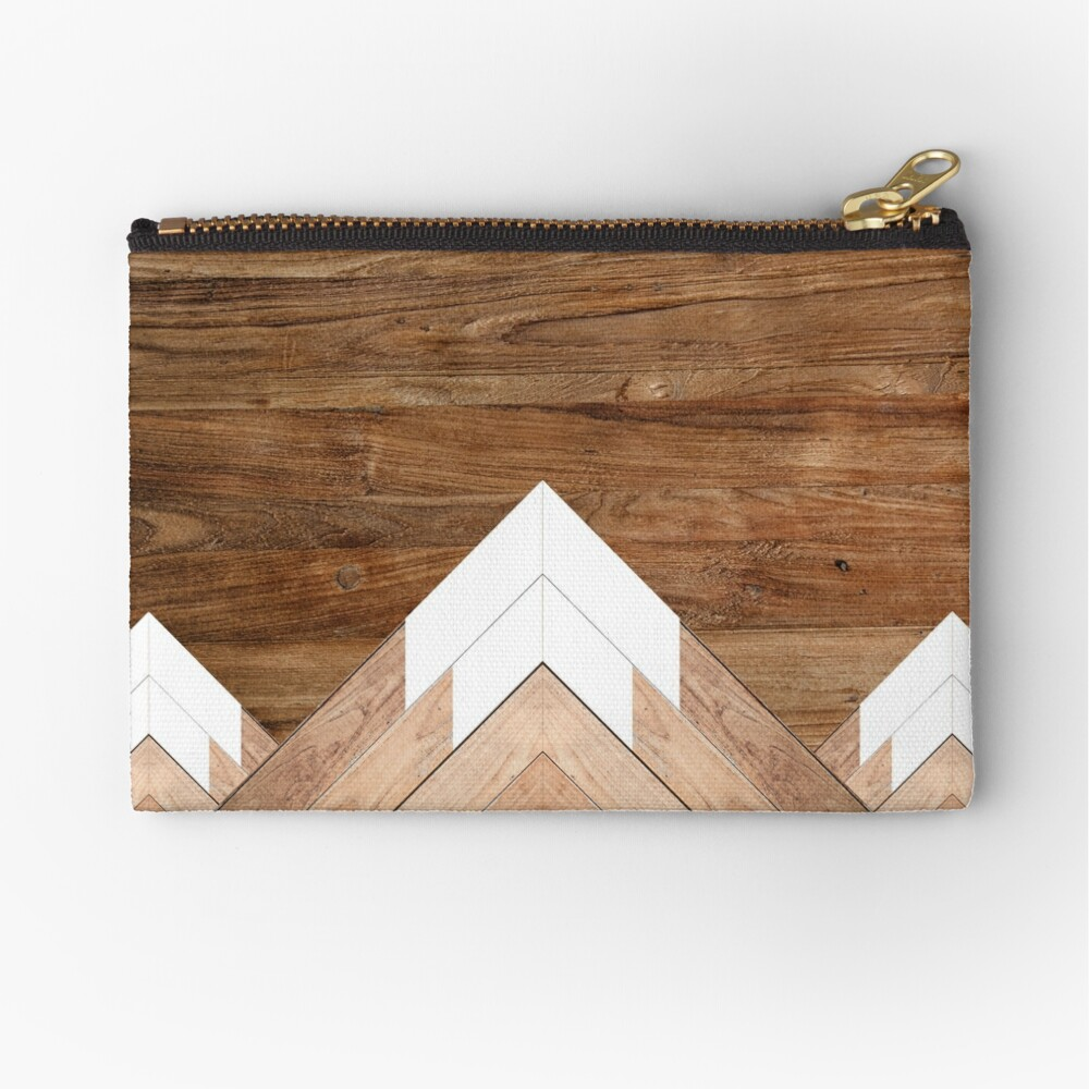 Wooden snow-capped mountains Zipper Pouch