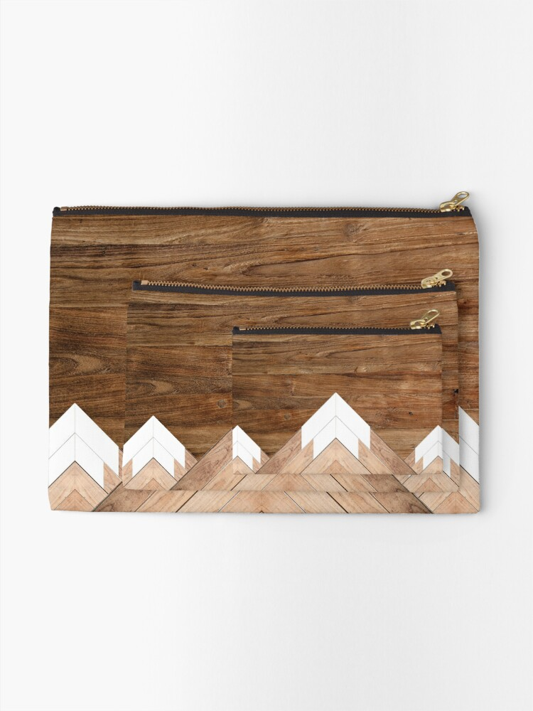 Alternate view of Wooden snow-capped mountains Zipper Pouch