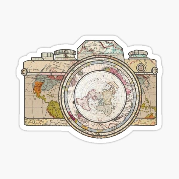 Map Camera Body and Lense Vintage Look Sticker