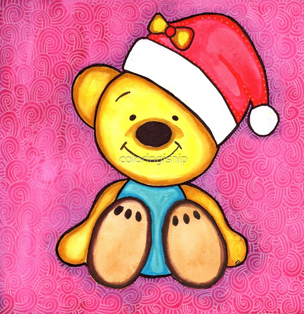 Watercolor Christmas Art | Christmas Teddy Bear by coloringiship