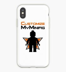 Black Minifig Standing, in front of Customize My Minifig Logo iPhone Case