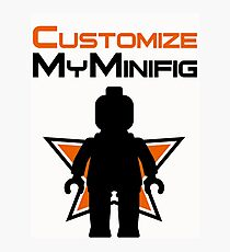 Black Minifig Standing, in front of Customize My Minifig Logo Photographic Print