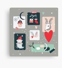 Christmas and New Year Holidays design elements set Deer Santa Claus Cupcake Holiday Celebration sweet treats Plants Polka dots Canvas Print
