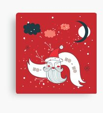Merry Christmas Happy New Year Santa Claus greeting card Banner Red background Holiday design elements Snow Moon Polka dots Canvas Print