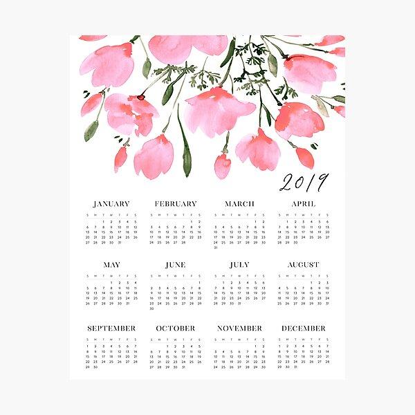 Pink watercolor flowers 2019 calendar Photographic Print