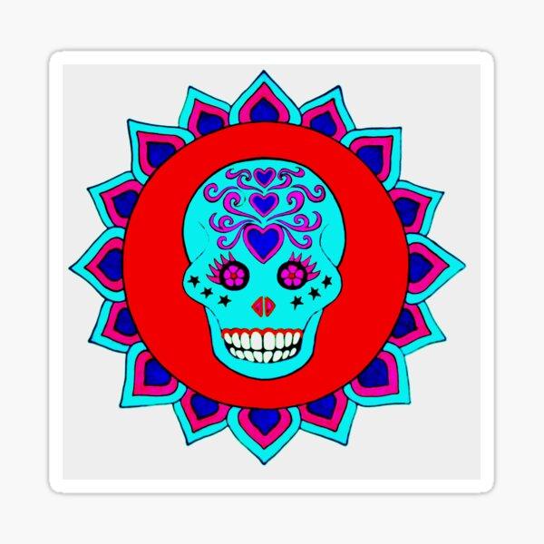 Skull Art red turquoise Sticker