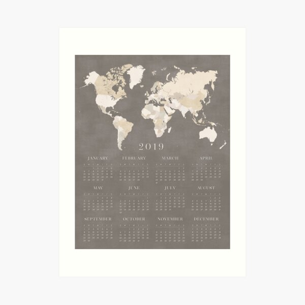 Brown distressed world map 2019 calendar Art Print