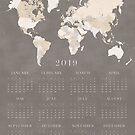 Brown beunruhigte Kalender der Weltkarte 2019 von blursbyai