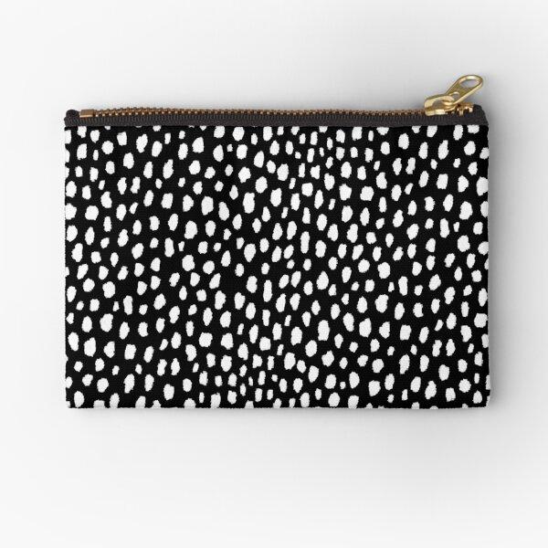 Handmade polka dot brush strokes (black and white reverse dalmatian) Zipper Pouch