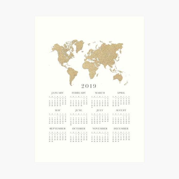 Gold world map 2019 calendar Art Print