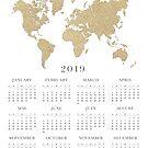 Kalender der Goldweltkarte 2019 von blursbyai