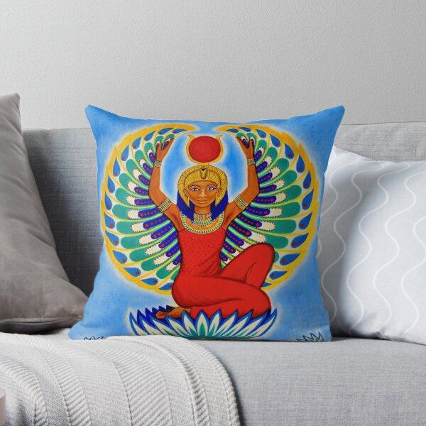 Winged Isis Egyptian Goddess Auset Throw Pillow