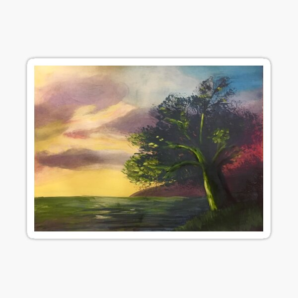 Tree at the Edge of the Earth - original painting by mjh Sticker