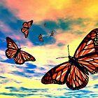 Flying Monarch Butterflies by Daniel Janda
