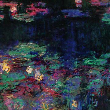 GREEN REFLECTIONS WATER LILIES Claud Monet by BulganLumini