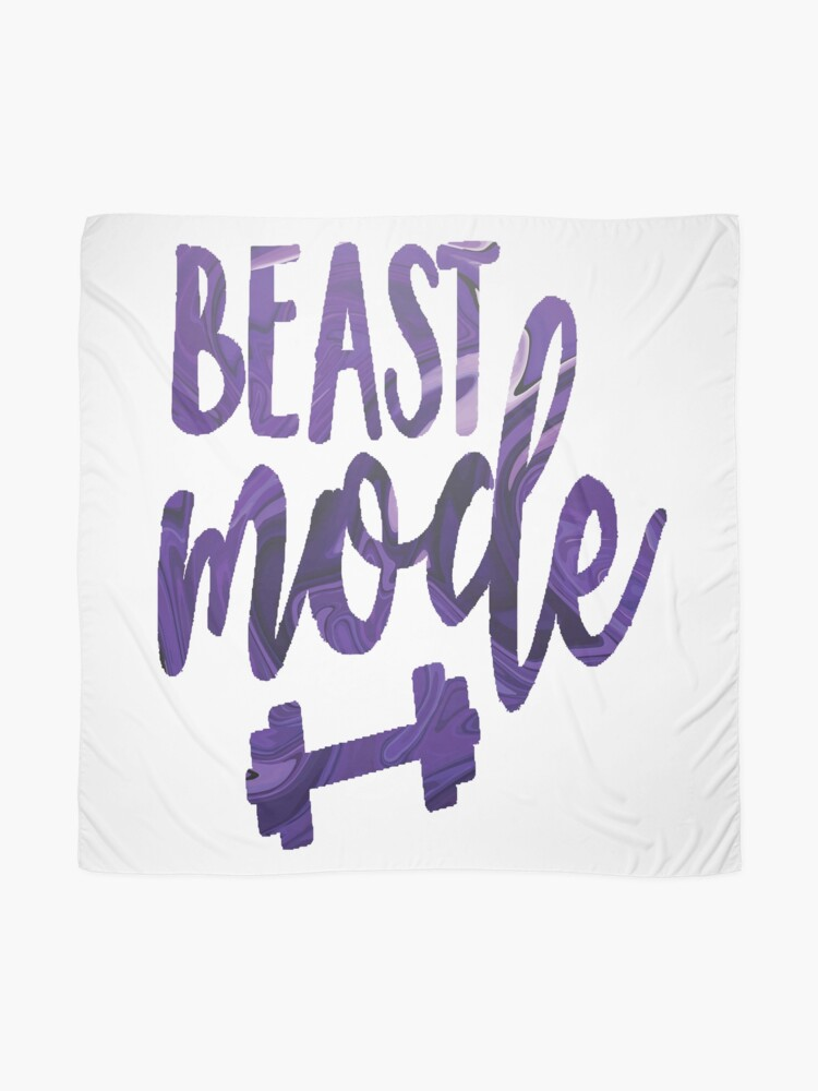 Alternate view of Beast mode dumbbell watercolor quote Scarf