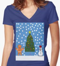 christmas snow  Women's Fitted V-Neck T-Shirt