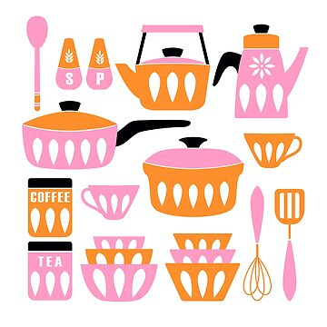 My Midcentury Modern Kitchen In Pink And Tangerine by BunnyThePainter
