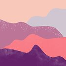Modern geometric abstract purple snow winter mountains by Girly Trend by GirlyTrend
