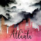 Atlanta in meinem Kopf | Dunkles verträumtes Aquarell-Stadtbild von PraiseQuotes