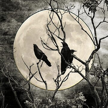Black White Crows Birds Tree Moon Landscape Home Decor Matted Picture Print A268 by byNicol
