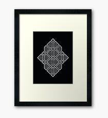 Diamonds - Geometric Sketch Pattern (White) Framed Print