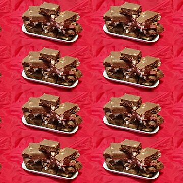 Cherry Chocolate Marshmallow Fudge On A Plate Collage by cmmei