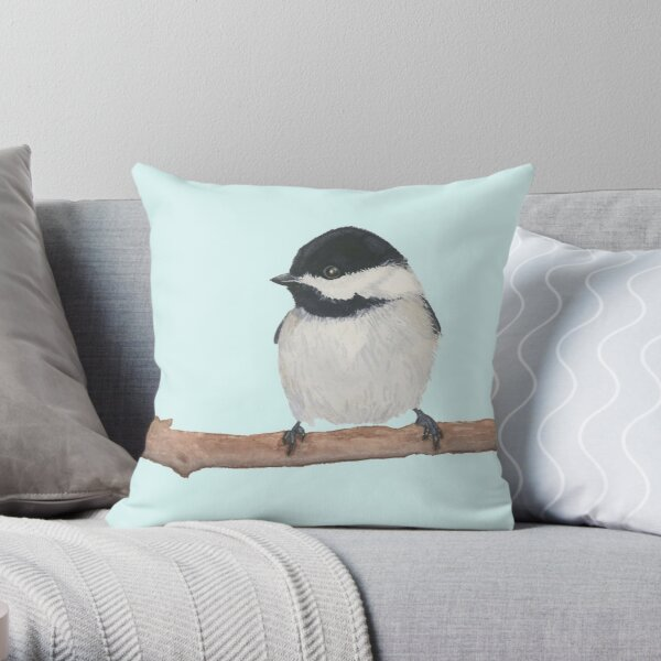 Chickadee - Watercolor Chickadee on a Branch Design - Gift for Bird Lovers Throw Pillow